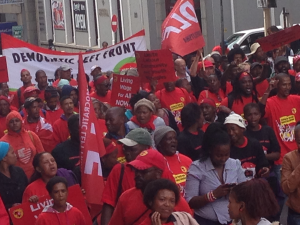 Some Democratic Left Front members on the National Union of Metalworkers of South  Africa Strike and March for Jobs in Cape Town, 19th March 2014.